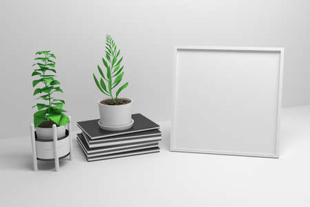 Square frame mockup with empty copy blank space and pile of notebooks with potted plants on white background. 3d illustration. Фото со стока - 146386429