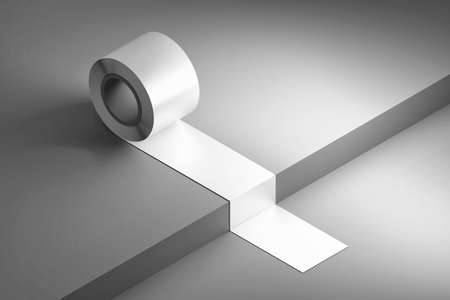 Mockup template with long duct tape on uneven black surface with a corner. 3d illustration. Banco de Imagens - 150938962