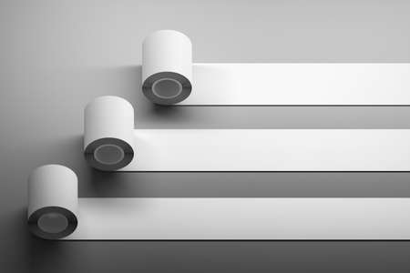 Mockup template with blank horizontal long tape of duct tape rolls on dark surface corner. 3d illustration. Stockfoto