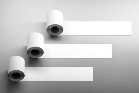 Mockup template with blank horizontal three duct tape rolls on dark surface corner. 3d illustration.