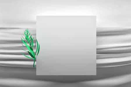 Square frame over white fabric with creases and green plant branch. Good for invitation greeting message. 3d illustration.