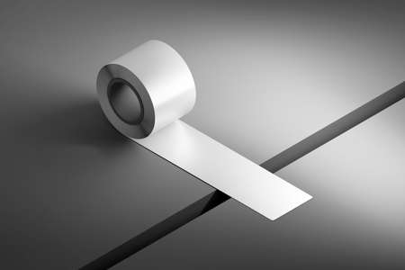 Concept illustration of reunion recover togetherness with duct tape covering a gap. 3d illustration. Banco de Imagens