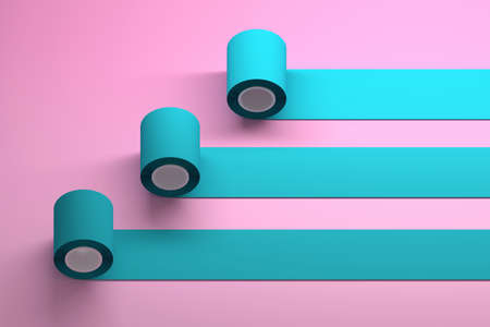 Mockup template with three blue rolls over pink surface. 3d illustration.