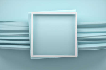 Mockup with square white frame over blue fabric fabric. 3d illustration.