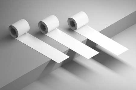 Mockup template with diagonal isometric arrangement of three duct tape rolls on dark surface corner. 3d illustration. Stockfoto
