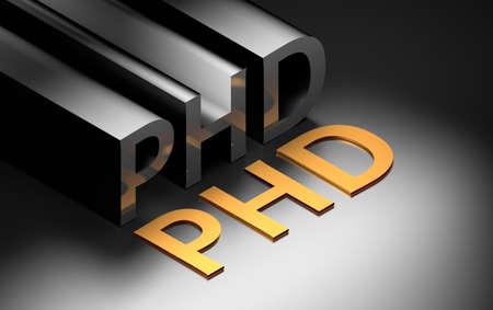 Large bold letters PHD abbreviation of Doctor of Philosophy on black background. 3d illustration. 免版税图像