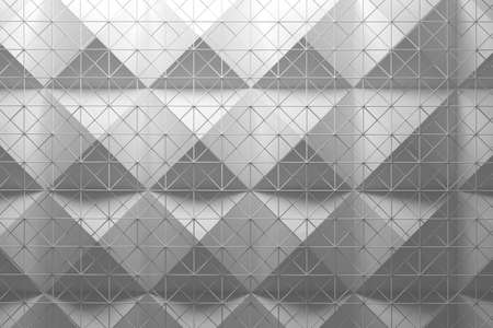 White pattern made of two tile layers pyramids and wire mesh mesh. 3d illustration.