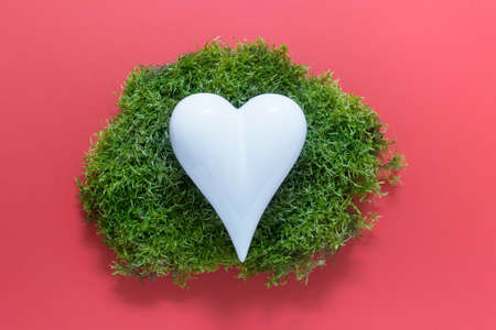Creative abstract composition with white porcelain heart on green forest moss on pink background.