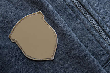Label fabric mockup template on hoodie sleeve clothes with a zip.