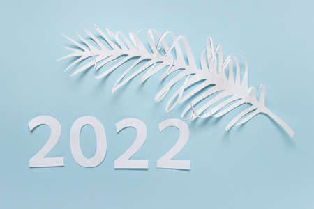New year 2022 greeting card made of paper numbers and white palm leaf on blue paper. 免版税图像