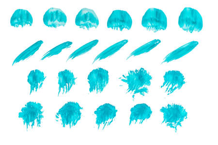 Abstract blue acrylic ink color splashes ink blots on white background. 免版税图像