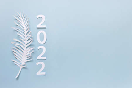 Simple greeting card with white paper feather leaf and 2022 numbers on blue background. Photo with copy blank space.