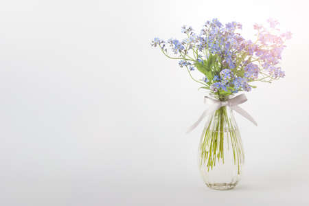 One vase with blue wild forest flowers. Image with copy blank space.