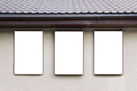 Mockup template of building exterior with three advertisement borders.