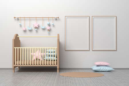 Kids room nursery mockup template with cradle, pillows, hanging toys and two A4 frames blank frames. 3d illustration.