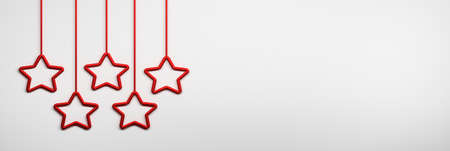 Red shiny stars hanging on ropes. Image with copy blank space. 3d illustration. 免版税图像