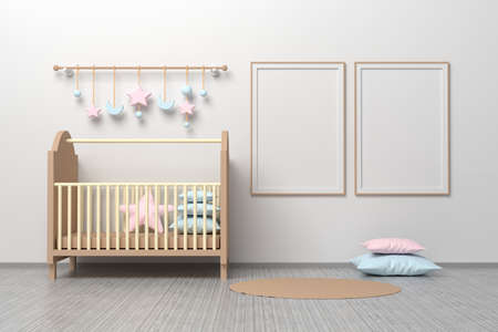 Kids room nursery mockup template with cradle, pillows, hanging toys and three square frames and two A4 blank frames. 3d illustration.