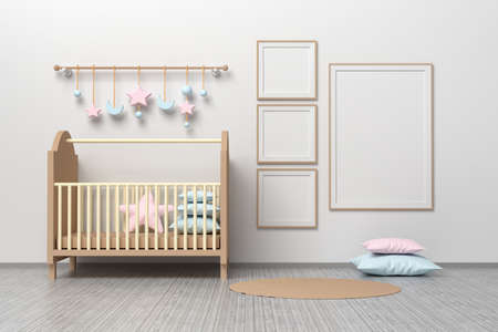Kids room nursery mockup template with cradle, pillows, hanging toys and three square frames and one A4 blank frame. 3d illustration.