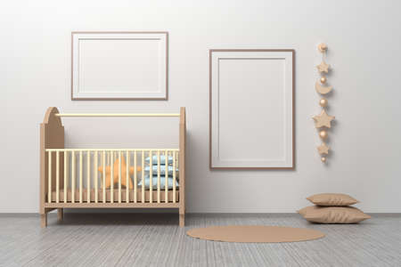 Kids room nursery mockup template with cradle, pillows, hanging toys and two horizontal and vertical A4 frames. 3d illustration.