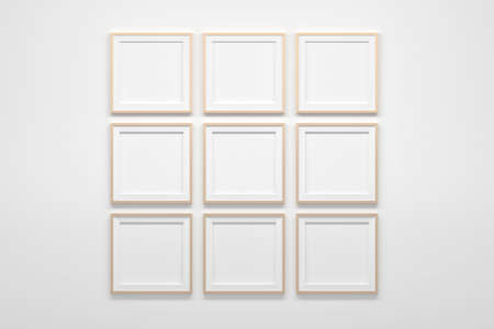 Mockup template with nine 9 square frames with light brown narrow border. 3d illustration.