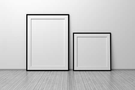Mockup template of two vertical A4 frame with thin black frame border standing next to wall on wooden floor. 3d illustration.