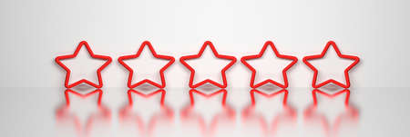 Wide banner with five 5 red stars over mirror shiny surface. 3d illustration. 免版税图像