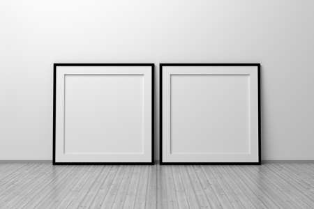 Mockup template of two square frames with thin black frame border standing next to wall on wooden floor. 3d illustration.