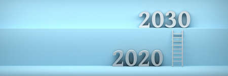 Wide banner with years 2020 and 2030 and ladder leading up on blue background. 3d illustration.