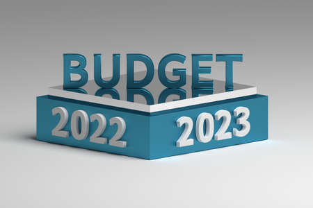 Illustration for budget planning for 2022 and 2023 years. 3d illustration. 免版税图像