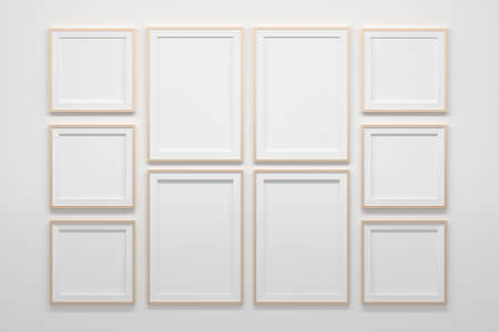 Large collection set of mockup template of A4 and 1;1 blank empty frames. 3d illustration.
