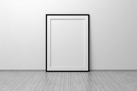 Mockup template of A4 frame with thin black frame border standing next to wall on wooden floor. 3d illustration.