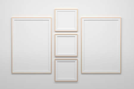 Mockup template with three square 1:1 blank frames and two A4 size frames. 3d illustration. 免版税图像