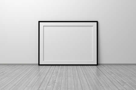 Mockup template of horizontal A4 frame with thin black frame border standing next to wall on wooden floor. 3d illustration.