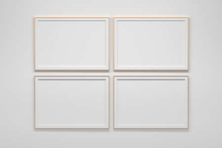 Mockup template with four horizontal A4 frames on white wall. 3d illustration. 免版税图像