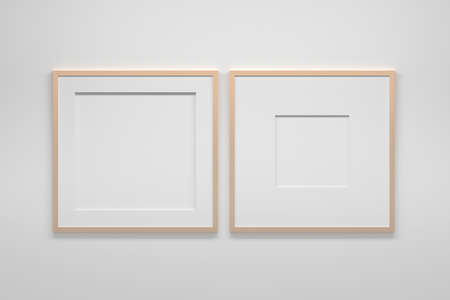 Mockup template with two large square frames. 3d illustration. 免版税图像