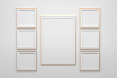 Mockup template with one large A4 frame and two sets of three square frames. 3d illustration. 免版税图像