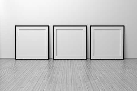 Mockup template of three square frame with thin black frame border standing next to wall on wooden floor. 3d illustration.