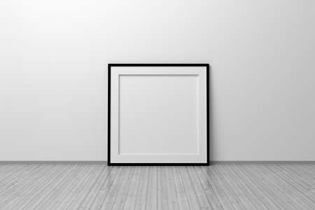 Mockup template of square frame with thin black frame border standing next to wall on wooden floor. 3d illustration.