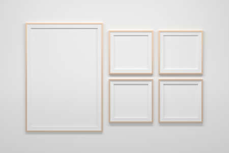 Mockup template with set collection of one large A4 frame and four square frames. 3d illustration.