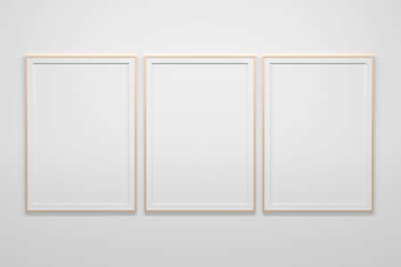 Mockup template with three large blank empty A4 frames on white background. 3d illustration