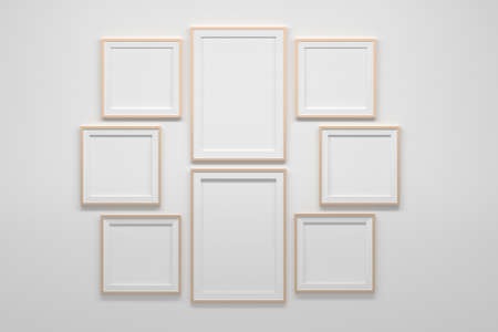 Mockup template with many two vertical A4 frames and two sets of three square frames. 3d illustration. 免版税图像