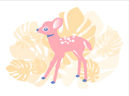 Cute pink fawn in the forest, illustration for children, postcards, girls, cute animals.Cute baby.