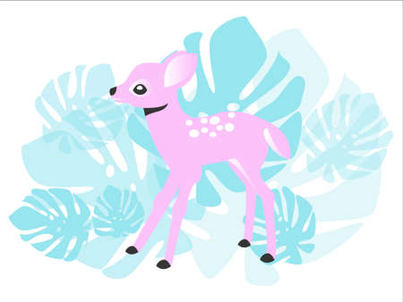 Cute pink fawn in the forest, illustration for children, postcards, girls, cute animals. Cute baby.