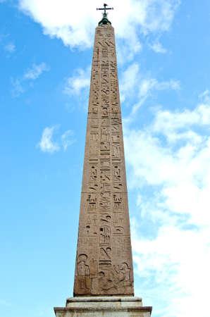 Stone Egyptian obelisk in the Piazza del Popolo.