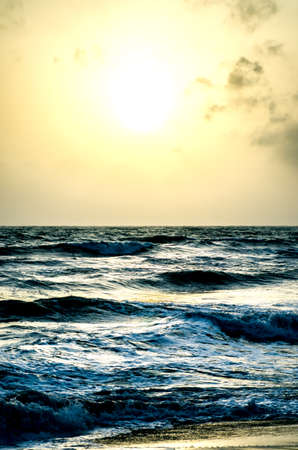 Sunset over the ocean on the beach. Sri lanka