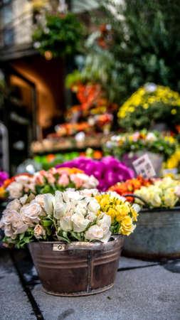 Street shop with cut flowers. Vienna Austria