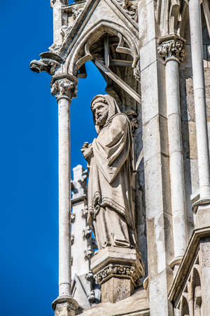 Statue on the facade of the Votive Church. Vienna Austria