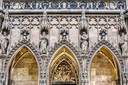 Facade of the Church of Votivkirche. Vienna Austria 写真素材