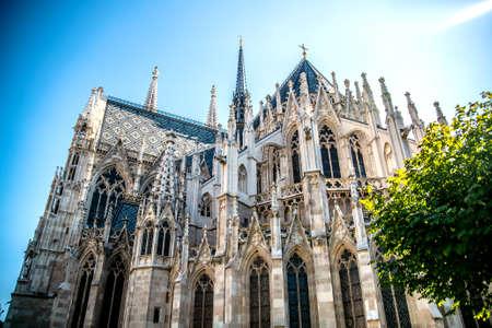Votivkirche church against the blue sky. Vienna Austria