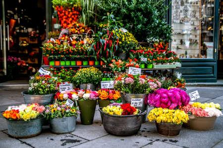 Street shop with flowers. Vienna Austria